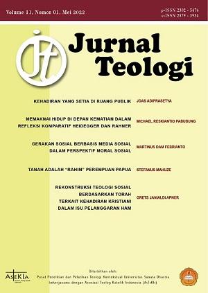 JURNAL TEOLOGI bertujuan menyampaikan hasil penelitian dalam bidang teologi atau refleksi atas penghayatan iman untuk mengembangkan iman dalam konteks Indonesia dan Asia di tengah keanekaragaman agama, budaya, dan persoalaan kongkret hidup berbangsa.